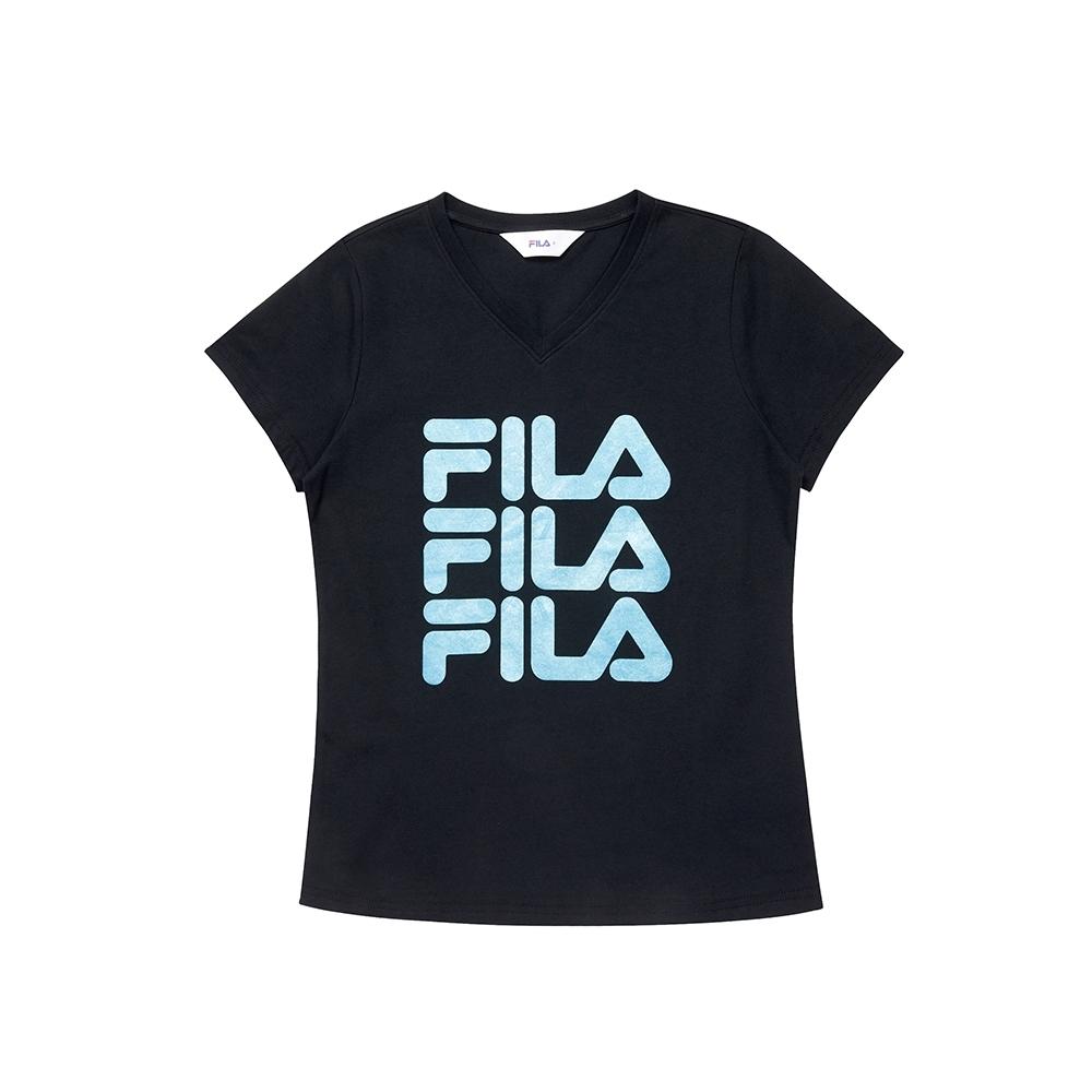 FILA 女短袖V領T恤-黑色 5TEU-1518-BK