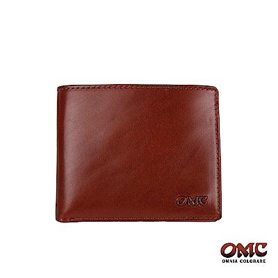 OMC 義大利進口牛皮10卡活動式中間翻透明窗零錢短夾-咖啡色