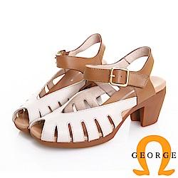 GEORGE 喬治皮鞋 日系簡約真皮鏤空魔鬼氈粗跟涼鞋 -米色