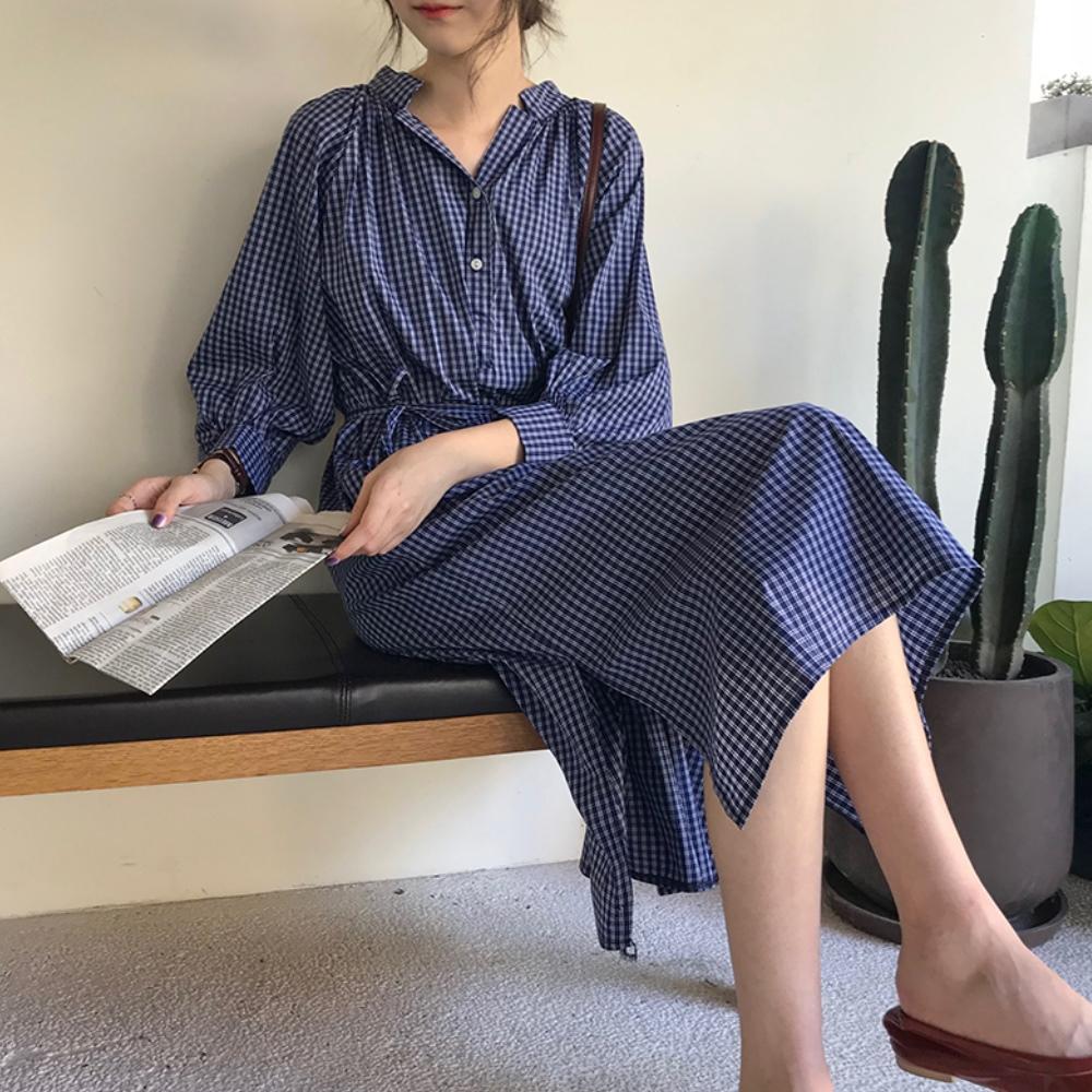 出清La Belleza小立領四線格紋交叉側開叉長版洋裝附綁帶