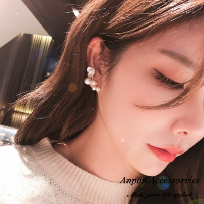 【全館6折】ANPAN愛扮韓東大門氣質女神珍珠貝殼花朵耳釘式耳骨耳環