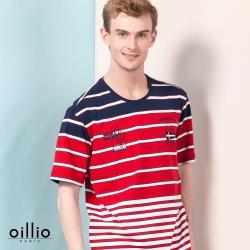 oillio歐洲貴族 透氣乾爽圓領T恤 舒適彈性棉衣料 紅色