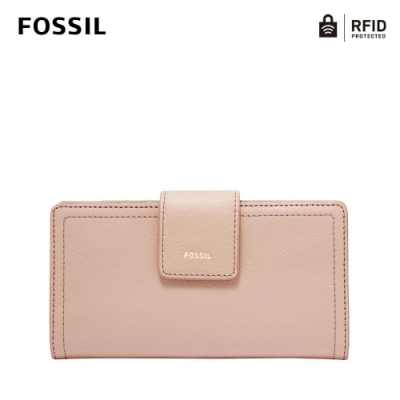 FOSSIL LOGAN 真皮拉鍊RFID防盜中長夾-櫻花粉 SL7830656