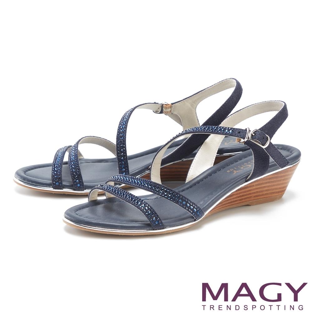 MAGY 經典斜邊細帶燙鑽楔型 女 涼鞋 深藍