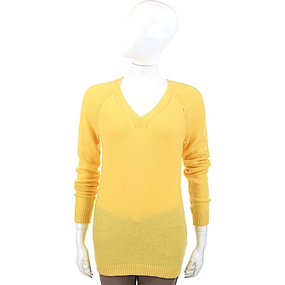 ALLUDE 喀什米爾錫蘭黃縷空V領織紋羊毛衫