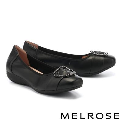 低跟鞋 MELROSE 都會典雅金屬雙圓釦全真皮楔型低跟鞋-黑