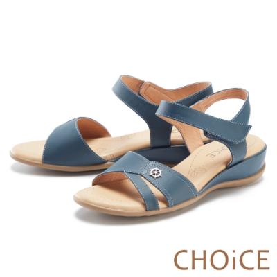 CHOiCE 細緻牛皮造型厚底 女 涼鞋 藍色