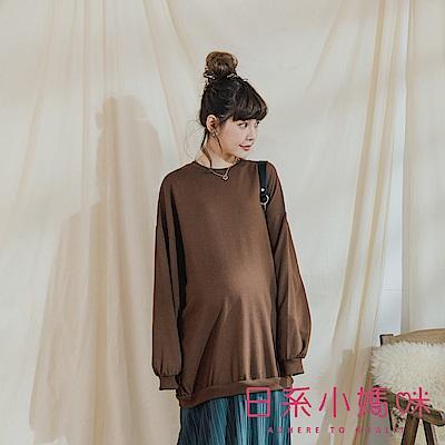 日系小媽咪孕婦裝-正韓孕婦裝 氣質圓領下拼接百褶洋裝