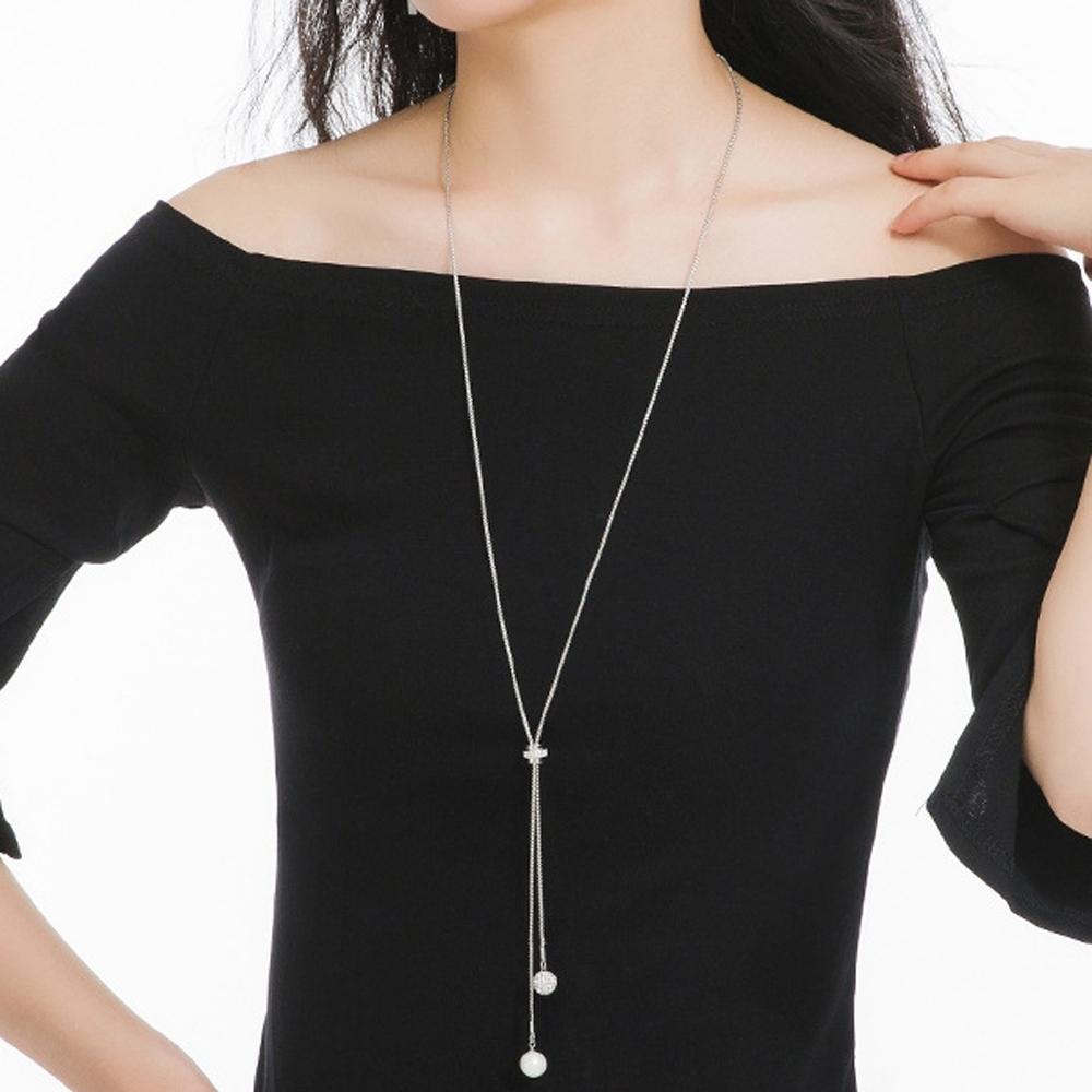 梨花HaNA 韓國細緻的女人珍珠Y型轉輪長項鍊銀色
