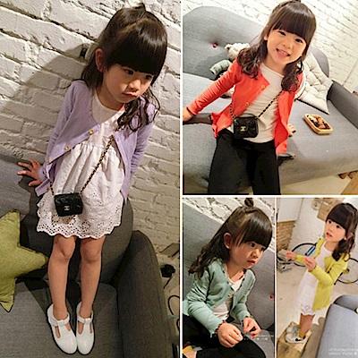 小衣衫童裝 中小童甜美糖果色螺紋百搭長袖外套