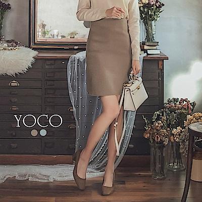 東京著衣-yoco 韓國姊姊側拉鍊後開岔針織毛線窄裙-S.M.L.XL