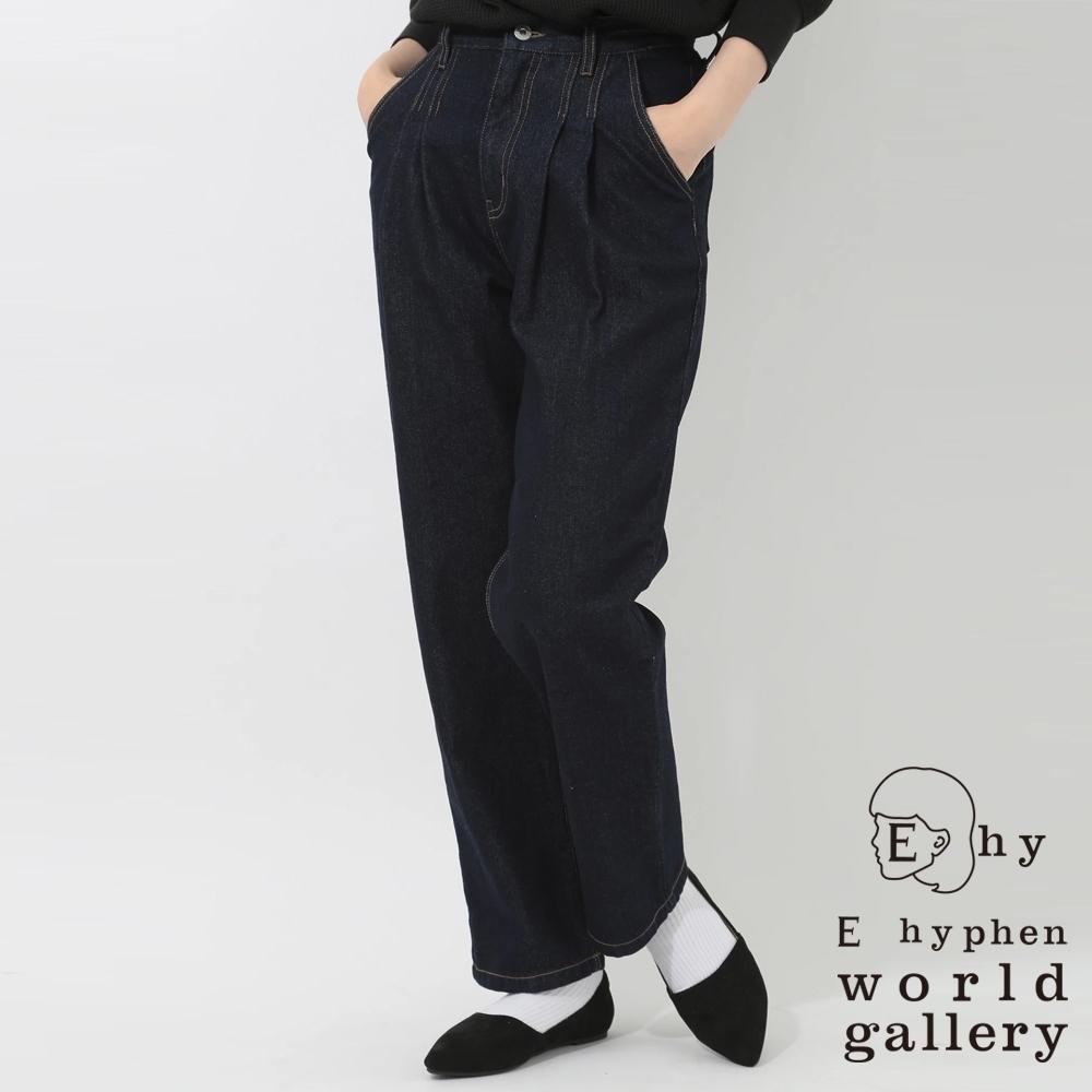 E hyphen 高腰打摺丹寧牛仔寬褲