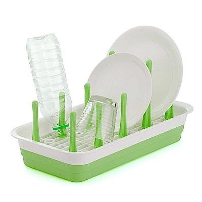 日本製造INOMATA可變換收納杯盤瀝水盤(粉綠色)