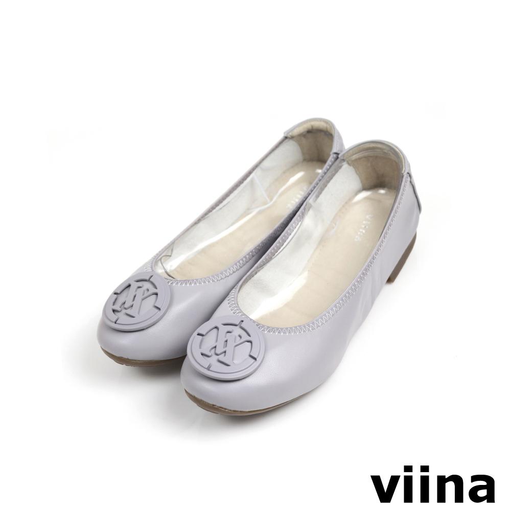 viina超纖烤漆釦摺疊鞋MIT - 灰紫