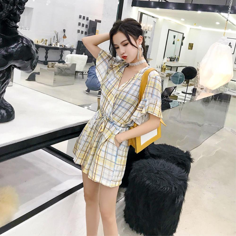 DABI 韓國風荷葉袖V領收腰顯瘦寬松高腰復古格子連身褲套裝短袖褲裝