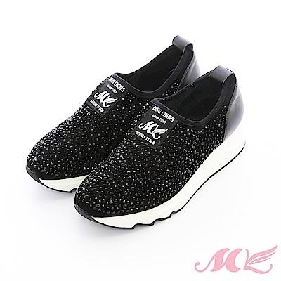 【MK】晶鑽真皮-水鑽厚底懶人鞋(2色)