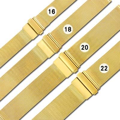 Watchband / DW代用 各品牌通用透亮輕巧耐用米蘭編織不鏽鋼錶帶 金色