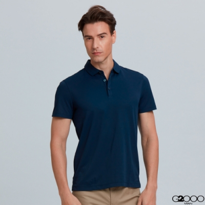 G2000素面網眼短袖polo衫-深藍色