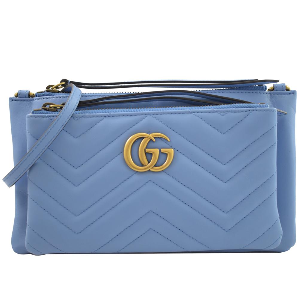 GUCCI Marmont縫線牛皮金屬GG LOGO斜背包(水藍)GUCCI