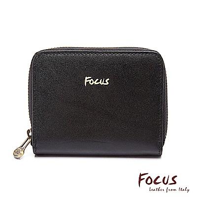 FOCUS原皮時尚黑卡夾拉鍊大零錢包(FGA2068)