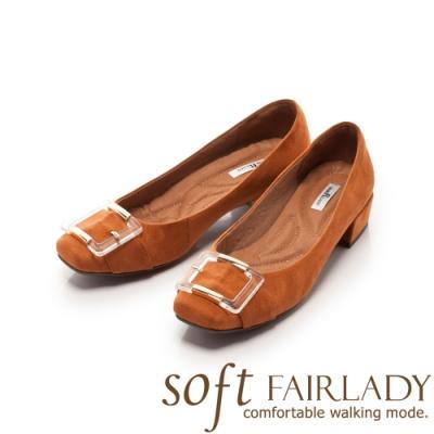 Fair Lady Soft芯太軟 異材質拼接扣帶方頭低跟鞋 棕
