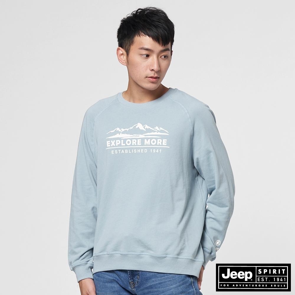 Jeep 男裝 山岳圖騰長袖T恤-淺藍