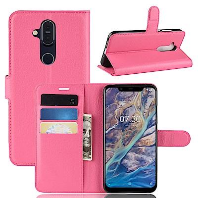 PKG For:Nokia 8.<b>1</b>側翻皮套-經典款式-玫紅
