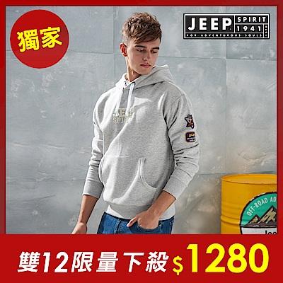JEEP 簡約舒適立體圖騰連帽TEE -灰色