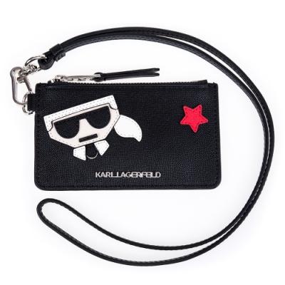【時時樂】KARL LAGERFELD 經典卡爾星星造型零錢吊繩票卡夾/證件夾 (黑色)