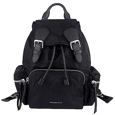 BURBERRY The Rucksack黑色尼龍皮飾邊鍊帶後背包