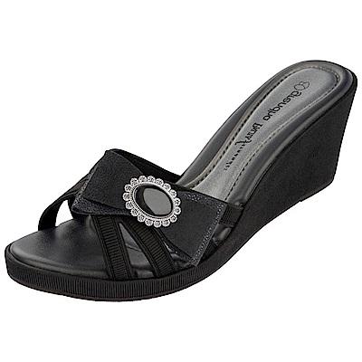 GRENDHA 極致典雅釦飾楔型鞋-黑
