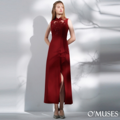 OMUSES 重工刺繡蕾絲前短後長改良旗袍洋裝