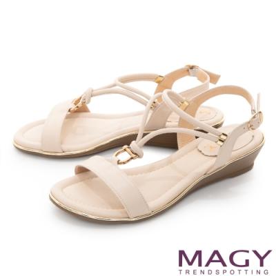 MAGY Y字踝帶楔型低跟 女 涼鞋 裸色