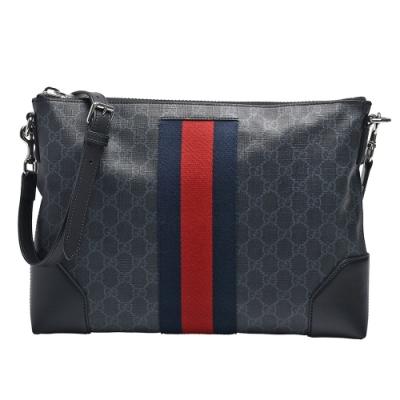GUCCI 經典GG Black messenger帆布藍紅藍背帶皮革飾邊斜背郵差包