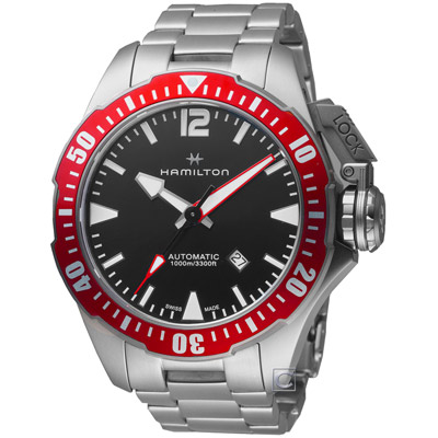Hamilton 漢米爾頓 卡其海軍Frogman蛙人專業潛水錶-紅/46mm