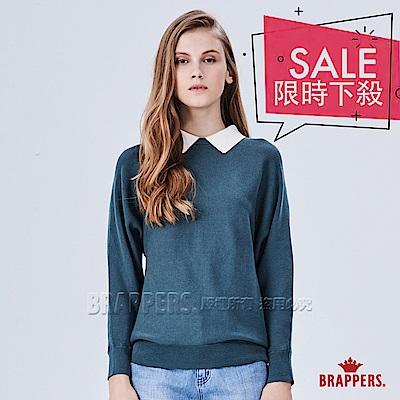 BRAPPERS 女款 假兩件襯衫領長袖線衫-深翠綠