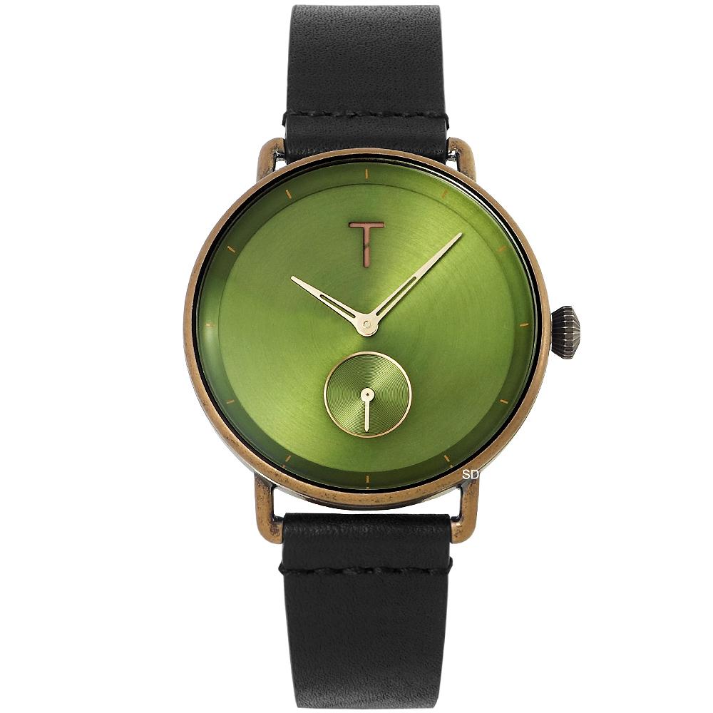 TYLOR 復古文青質感皮革手錶-綠X黑/39mm