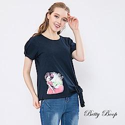 Betty Boop貝蒂 圓領側蝴蝶結綁帶柔棉上衣(共兩色)