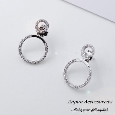 【Anpan 愛扮】韓東大門前後扣一款兩戴鑽石幾何圓圈雙環925銀針耳釘式耳環