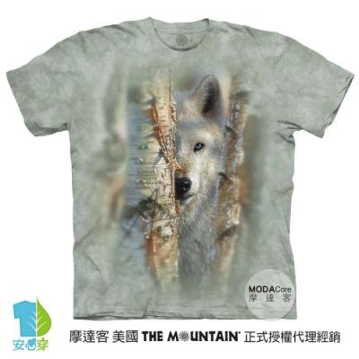 摩達客-美國進口The Mountain 雪地勇士白狼 純棉環保藝術中性短袖T恤