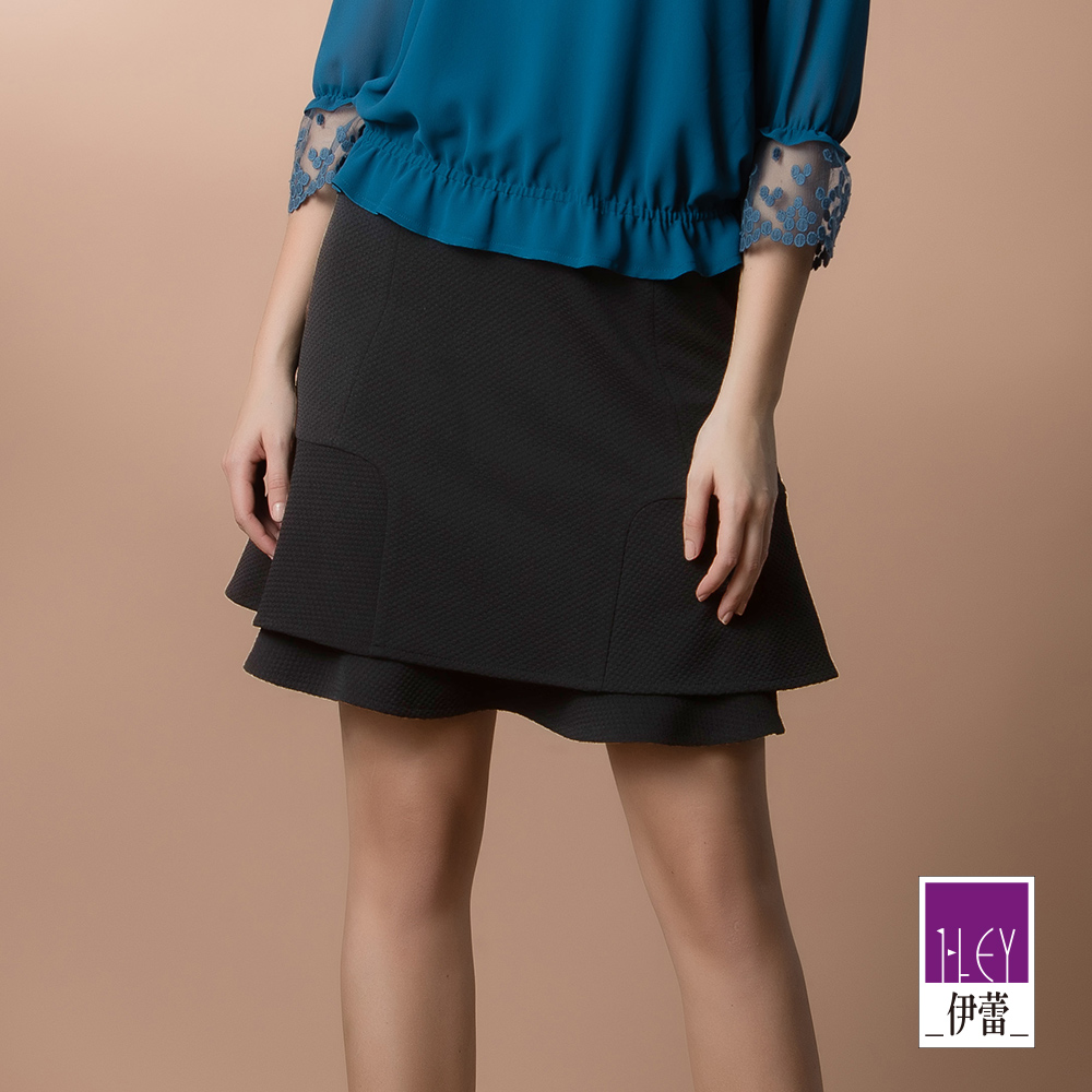 ILEY伊蕾 荷葉層次造型圓點緹花裙(黑) @ Y!購物