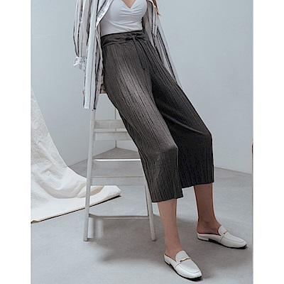Shester55-綁繩百褶直筒棉褲(兩色)-女【TSH153】