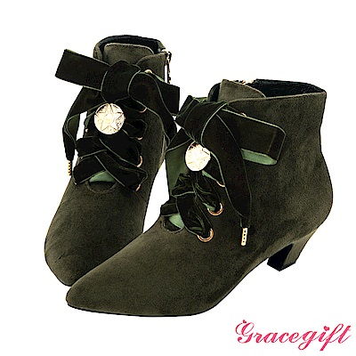 Grace gift-美少女戰士經典變身綁帶短靴 墨綠