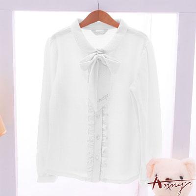 Annys甜美打摺蝴蝶結領水鑽荷葉單排襯衫*6262白