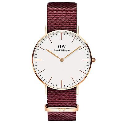 DW手錶 官方旗艦店 36mm玫瑰金框 Classic 玫瑰紅尼龍帆布手錶
