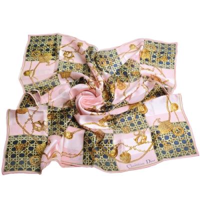 Dior 經典品牌鍊飾圖騰LOGO造型大絲巾(粉紅色)