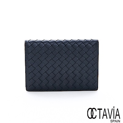 OCTAVIA8 真皮 - NEW德瑞克編織 小羊皮中性護照二用短夾 - 金屬灰