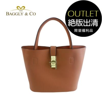 [福利品]【BAGGLY&CO】香榭夢幻托特水桶包(焦糖棕)(絕版出清)