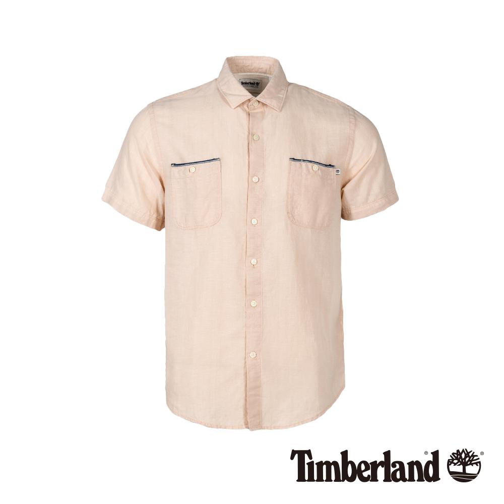 Timberland 男款淡紅色修身亞麻收納式短袖襯衫|A1WRN