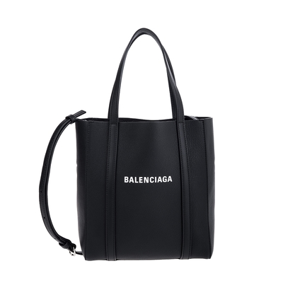 BALENCIAGA Everyday 品牌字母小牛皮XXS手提/斜背兩用托特包 (黑色)